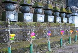 Colorful flowers in front of stone markers at a temple