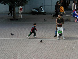 A child runs toward its mother while pigeons scatter