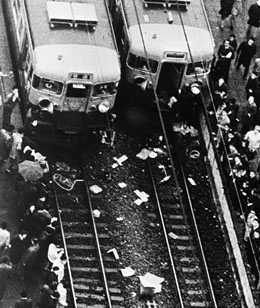 Aerial view of two trains damaged by railway workers